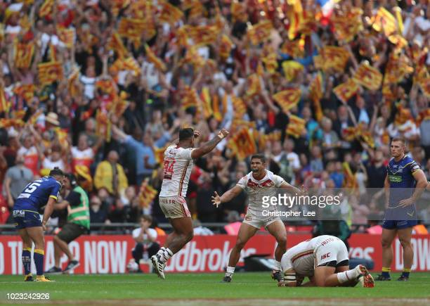 Kenny Edwards of Catalans Dragons and David Mead of Catalans Dragons celebrate their victory during the Ladbrokes Challenge Cup Final match between...