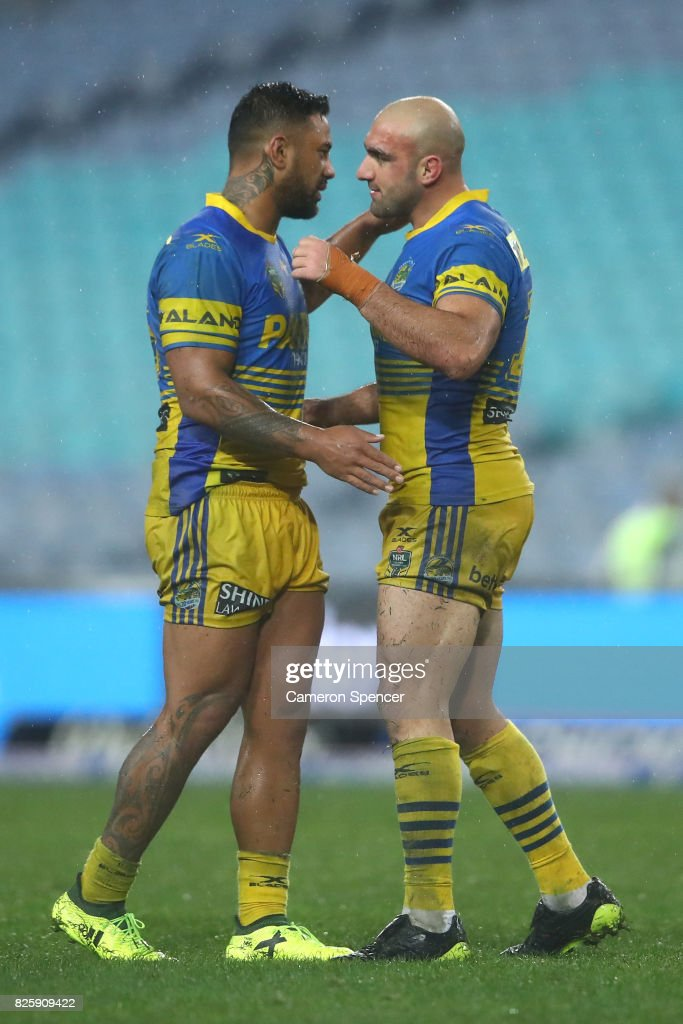 Kenny Edwards of the Eels and Tim Mannah of the Eels celebrate winning the round 22 NRL match between the Canterbury Bulldogs and the Parramatta Eels at ANZ Stadium on August 3, 2017 in Sydney, Australia.