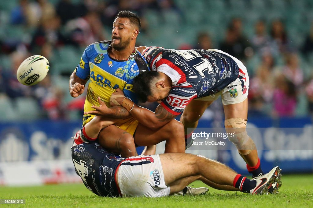 Kenny Edwards of the Eels is tackled by Zane Tetevano of the Roosters during the round 10 NRL match between the Sydney Roosters and the Parramatta Eels at Allianz Stadium on May 14, 2017 in Sydney, Australia.