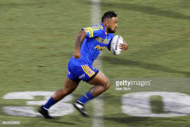 Kenny Edwards of the Eels makes a break during the NRL Trial match between the Penrith Panthers and Parramatta Eels at Pepper Stadium on February 18...