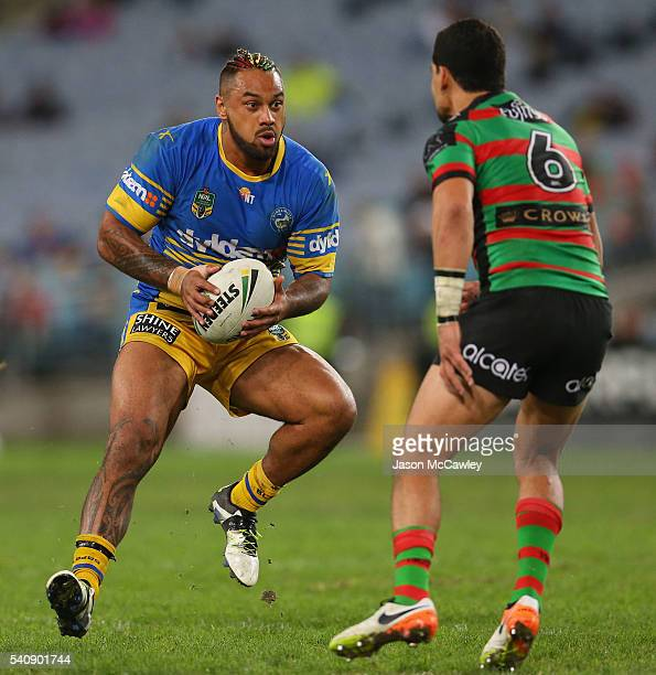 Kenny Edwards of the Eels runs with the ball during the round 15 NRL match between the South Sydney Rabbitohs and the Parramatta Eels at ANZ Stadium...