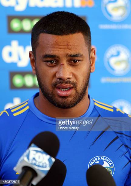 Kenny Edwards talks to the media during a Parramatta Eels NRL recovery session at Pirtek Stadium on March 25 2014 in Sydney Australia
