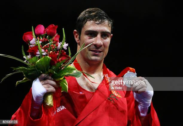 Kenny Egan of Ireland celebrates winning the silver medal in the Men's Light Heavy Final Bout held at the Workers' Indoor Arena during Day 16 of the...
