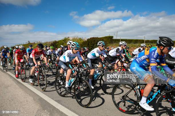Kenny Elissonde and Michal Kwiatkowski of Team Sky during the 2nd stage of the cycling Tour of Algarve between Sagres and Alto do Foia on February 15...
