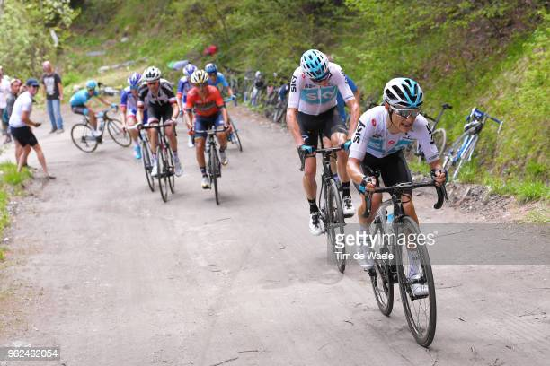 Kenny Elissonde of France and Team Sky / Christopher Froome of Great Britain and Team Sky / Domenico Pozzovivo of Italy and Team Bahrain-Merida / Tom...