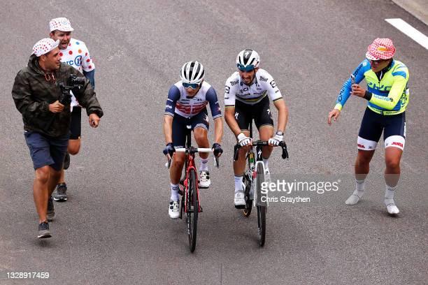 Kenny Elissonde of France and Team Trek - Segafredo & Julian Alaphilippe of France and Team Deceuninck - Quick-Step during the 108th Tour de France...