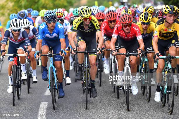 Kenny Elissonde of France and Team Trek - Segafredo / Nelson Oliveira of Portugal and Movistar Team / Damien Howson of Australia and Team Mitchelton...