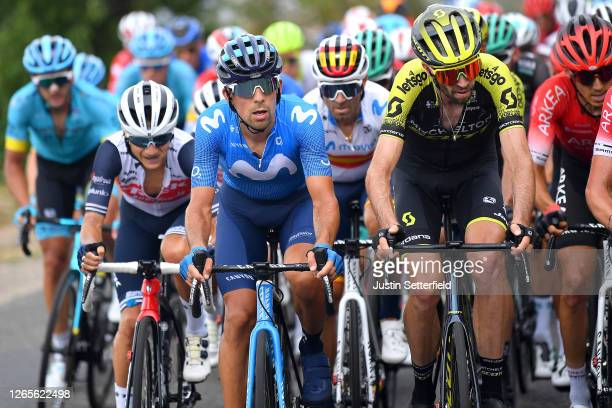 Kenny Elissonde of France and Team Trek - Segafredo / Nelson Oliveira of Portugal and Movistar Team / Alejandro Valverde Belmonte of Spain and...