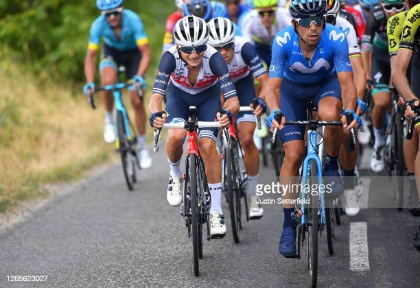Kenny Elissonde of France and Team Trek - Segafredo / Richie Porte of Australia and Team Trek - Segafredo / Nelson Oliveira of Portugal and Movistar...