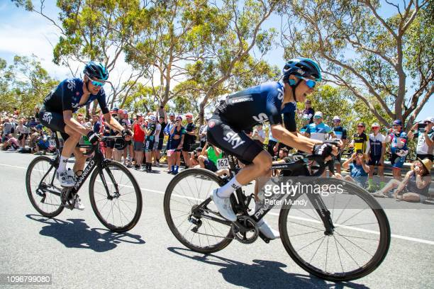 ADELAIDE AUSTRALIA JANUARY 20 Kenny Elissonde of France and Wout Poels of Netherlands of Team Sky on the first lap of Old Willunga Hill climb during...