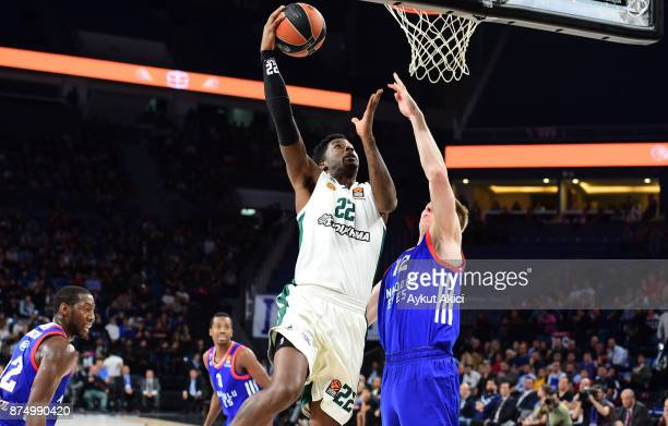 Kenny Gabriel #22 of Panathinaikos Superfoods Athens in action during the 2017/2018 Turkish Airlines EuroLeague Regular Season Round 8 game between...