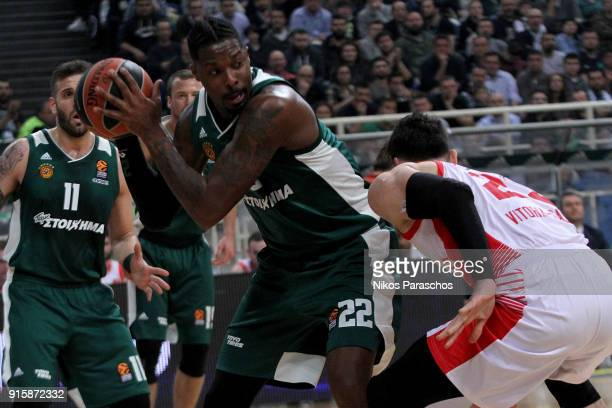 Kenny Gabriel #22 of Panathinaikos Superfoods Athens in action during the 2017/2018 Turkish Airlines EuroLeague Regular Season Round 22 game between...