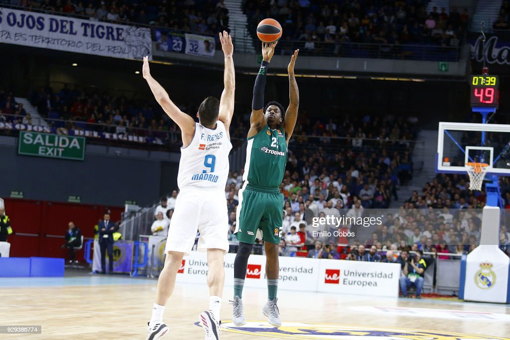 Kenny Gabriel, #22 of Panathinaikos Superfoods Athens in action during the 2017/2018 Turkish Airlines EuroLeague Regular Season Round 25 game between Real Madrid and Panathinaikos Superfoods Athens at Wizink Arena on March 8, 2018 in Madrid, Spain.
