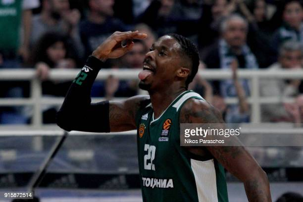 Kenny Gabriel #22 of Panathinaikos Superfoods Athens react during the 2017/2018 Turkish Airlines EuroLeague Regular Season Round 22 game between...