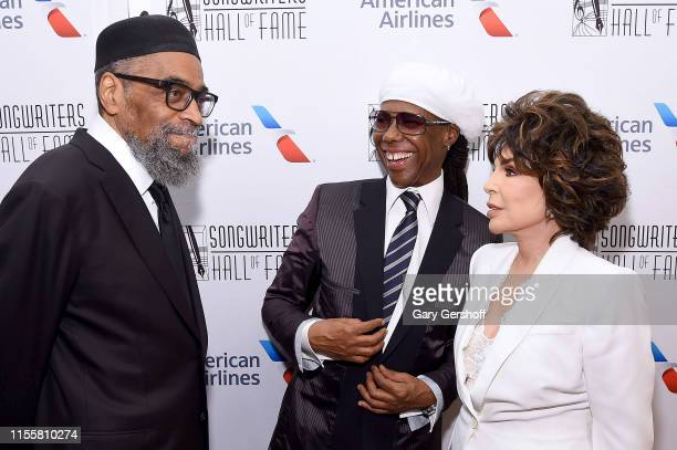 Kenny Gamble Nile Rodgers and Carole Bayer Sager pose backstage during the Songwriters Hall Of Fame 50th Annual Induction And Awards Dinner at The...