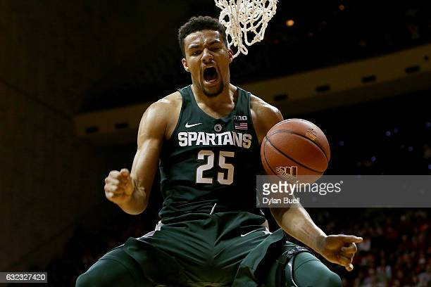 Kenny Goins of the Michigan State Spartans reacts after dunking the ball in the second half against the Indiana Hoosiers at Assembly Hall on January...