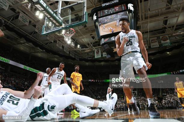 Kenny Goins of the Michigan State Spartans reacts to a play during a game against the Louisiana Monroe Warhawks in the second half at Breslin Center...