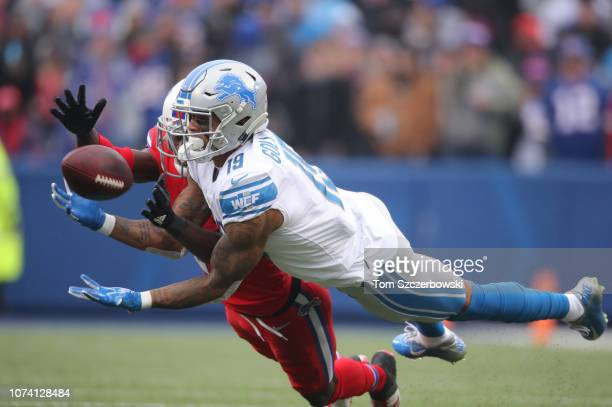 Kenny Golladay of the Detroit Lions cannot hold on to a pass in the second quarter during NFL game as TreDavious White of the Buffalo Bills plays...
