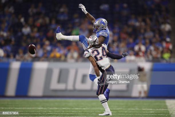 Kenny Golladay of the Detroit Lions can't come up with a second quarter catch while being defended by Stephon Gilmore of the New England Patriots...