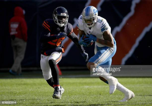 Kenny Golladay of the Detroit Lions carries the football past Prince Amukamara of the Chicago Bears in the second quarter at Soldier Field on...
