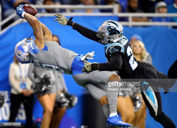 Kenny Golladay of the Detroit Lions catches a touchdown pass against James Bradberry of the Carolina Panthers during the fourth quarterof the Detroit...