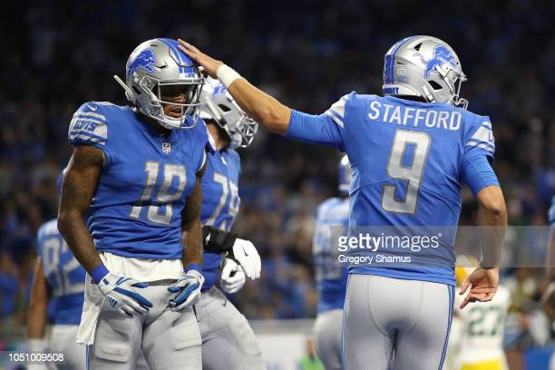 Kenny Golladay of the Detroit Lions celebrates a second half touchdown with Matthew Stafford while playing the Green Bay Packers at Ford Field on...