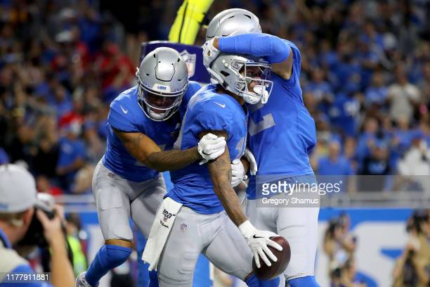 Kenny Golladay of the Detroit Lions celebrates after scoring a 9 yard touchdown thrown by Matthew Stafford against the Kansas City Chiefs during the...