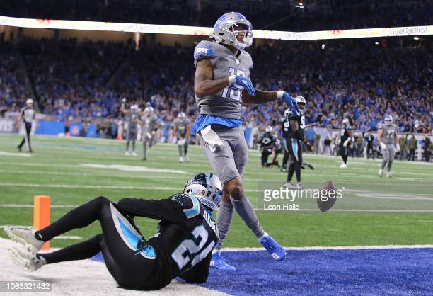 Kenny Golladay of the Detroit Lions celebrates his touchdown catch against James Bradberry of the Carolina Panthers during the fourth quarter at Ford...