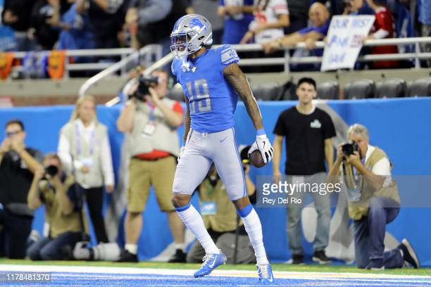 Kenny Golladay of the Detroit Lions celebrates his touchdown pass in the third quarter against the New York Giants at Ford Field on October 27 2019...