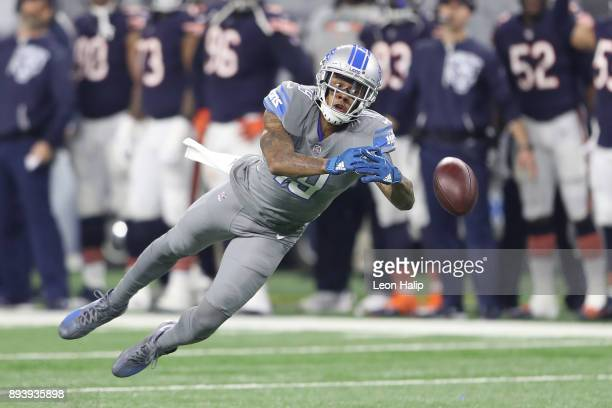 Kenny Golladay of the Detroit Lions dives for a ball against the Chicago Bears during the first half at Ford Field on December 16 2017 in Detroit...