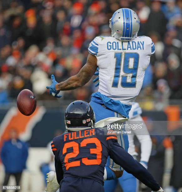 Kenny Golladay of the Detroit Lions drops a pass in front of Kyle Fuller of the Chicago Bears at Soldier Field on November 19 2017 in Chicago...