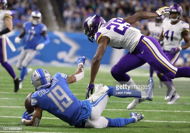 Kenny Golladay of the Detroit Lions is unable to make a catch defended by Xavier Rhodes of the Minnesota Vikings in the first quarter of the...
