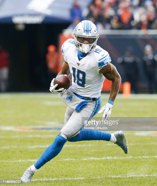 Kenny Golladay of the Detroit Lions plays during the game against the Chicago Bears at Soldier Field on November 10 2019 in Chicago Illinois