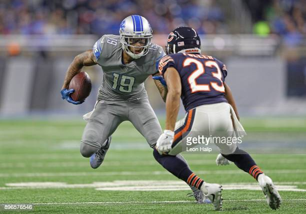 Kenny Golladay of the Detroit Lions runs for a first down during the fourth quarter as Kyle Fuller of the Chicago Bears at Ford Field on December 16...