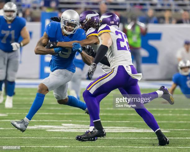 Kenny Golladay of the Detroit Lions runs with the football against the Minnesota Vikings during an NFL game at Ford Field on November 23 2016 in...