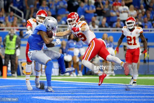 Kenny Golladay of the Detroit Lions scores a 9 yard touchdown thrown by Matthew Stafford against the Kansas City Chiefs during the third quarter in...