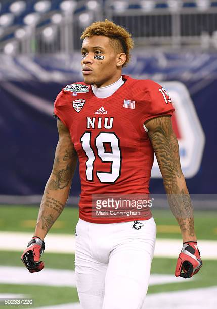 Kenny Golladay of the Northern Illinois Huskies looks on prior to the 2015 MAC Championship game against the Bowling Green Falcons at Ford Field on...