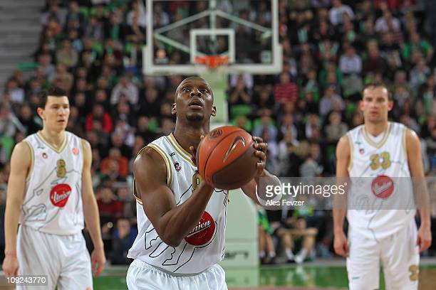 Kenny Gregory #9 of Union Olimpija at freethrow line during the 20102011 Turkish Airlines Euroleague Top 16 Date 4 game between Union Olimpija...