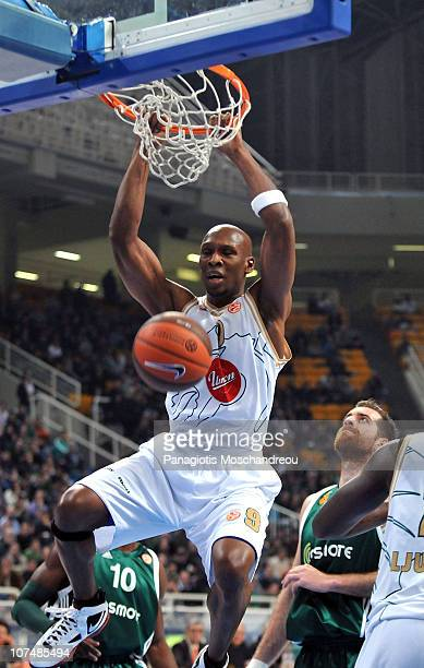 Kenny Gregory #9 of Union Olimpija in action during the 20102011 Turkish Airlines Euroleague Regular Season Date 8 game between Panathinaikos Athens...