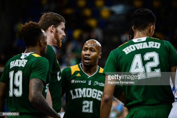 Kenny Hayes Brian Conklin and Danny Gibson of Limoges during the Pro A match between Levallois and Limoges on October 7 2017 in LevalloisPerret France