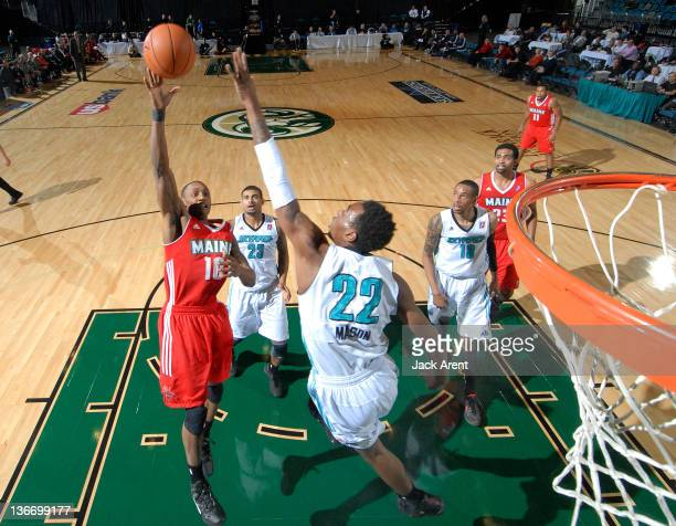 Kenny Hayes of the Maine Red Claws shoots the ball against Anthony Mason of the Sioux Falls Skyforce during the 2012 NBA D-League Showcase on January...