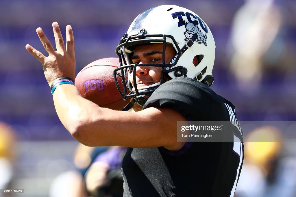 Kenny Hill #7 of the TCU Horned Frogs prepares to take on the West Virginia Mountaineers at Amon G. Carter Stadium on October 7, 2017 in Fort Worth, Texas.
