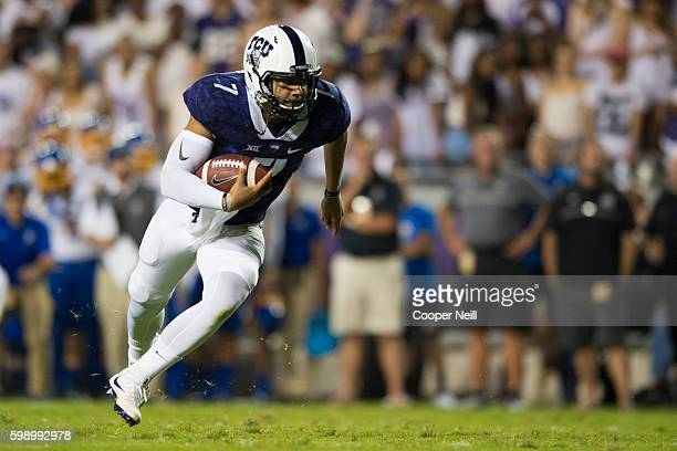 Kenny Hill of the TCU Horned Frogs rushes for a 4yard touchdown against the South Dakota State Jackrabbits during the first half on September 3 2016...
