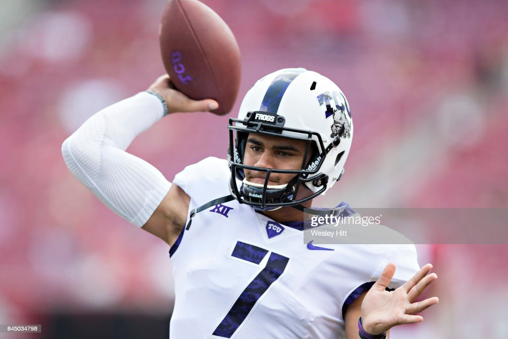 Kenny Hill #7 of the TCU Horned Frogs warming up before a game against the Arkansas Razorbacks at Donald W. Reynolds Razorback Stadium on September 9, 2017 in Fayetteville, Arkansas. The Horn Frogs defeated the Razorbacks 28-7.