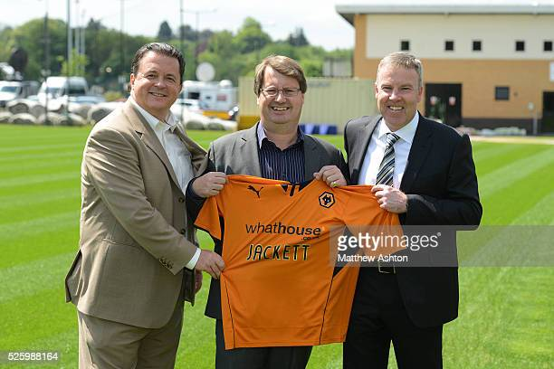 Kenny Jackett is unveiled as the new head coach of Wolverhampton Wanderers Football Club From left is chief executive Jez Moxey Rupert Bates of shirt...