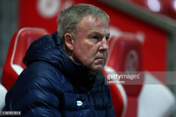 Kenny Jackett manager of Portsmouth FC looks on during the FA Cup Third Round match between Fleetwood Town and Portsmouth FC at Highbury Stadium on...