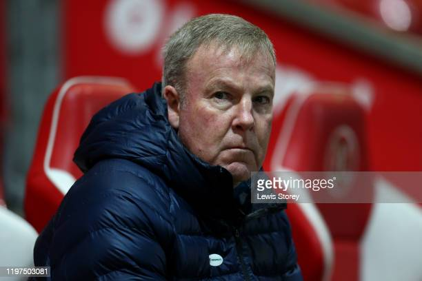 Kenny Jackett manager of Portsmouth FC looks on prior to the FA Cup Third Round match between Fleetwood Town and Portsmouth FC at Highbury Stadium on...