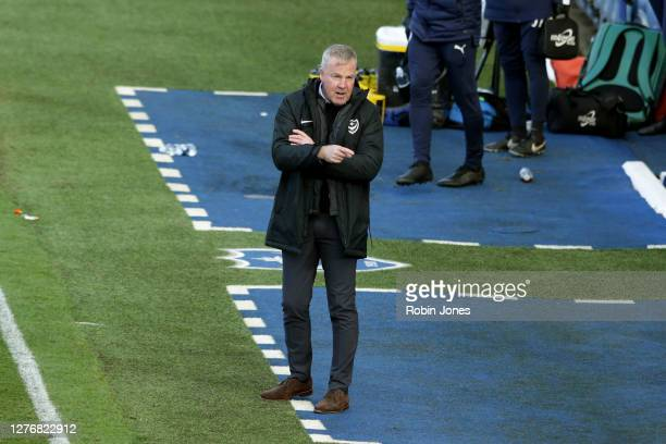 Kenny Jackett of Portsmouth FC during the Sky Bet League One match between Portsmouth and Wigan Athletic at Fratton Park on September 26, 2020 in...