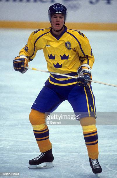 Kenny Jonsson of Team Sweden skates on the ice against Team Slovakia during the 1994 Winter Olympic Games on February 13 1994 at the Haakons Hall in...