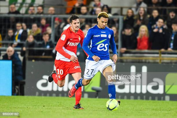 Kenny Lala Stevan Jovetic during the Ligue 1 match between Strasbourg and AS Monaco at on March 9 2018 in Strasbourg